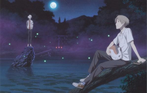 Картинка озеро, огоньки, Япония, маска, парни, полнолуние, на природе, crossover, Hotarubi no Mori e, Gin, Takashi …