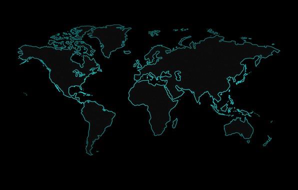 Картинка земля, неон, черный фон, карта мира