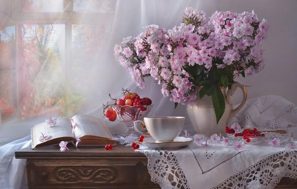 Картинка цветы, ягоды, окно, виноград, чашка, книга, кувшин, натюрморт, занавеска, комод, салфетка, вазочка, калина, флоксы, Валентина …