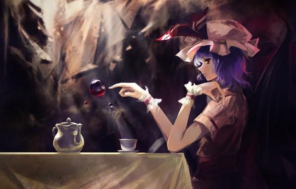Картинка красные глаза, в темноте, вампирша, Remilia Scarlet, черная магия, капли крови, крылья летучей мыши, touhou …