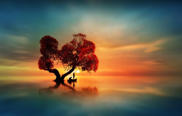 Картинка небо, вода, солнце, закат, озеро, гладь, отражение, дерево, лодка, зарево, рыбаки, силуэты