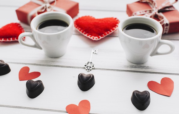 Картинка любовь, подарок, сердце, сердечки, red, love, heart, wood, cup, romantic, valentine's day, gift, coffee