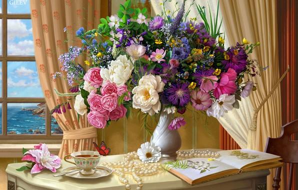 Картинка цветы, стол, чай, бабочка, букет, окно, арт, чашка, жемчуг, ваза, шторы, живопись, помещение