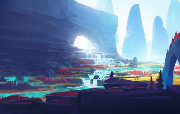 Картинка fantasy, river, trees, landscape, nature, man, waterfall, Mountains, digital art, artwork, fantasy art, illustration, fantasy …