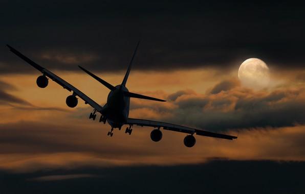 Картинка Небо, Облака, Ночь, Самолет, Луна, Лайнер, Полет, Полнолуние, Посадка, Авиалайнер, Boeing 747, Боинг 747, Прибытие, …
