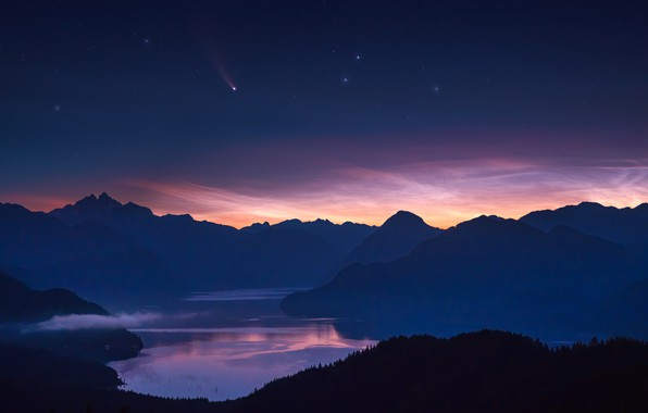 Картинка звезды, горы, комета, mountains, stars, comet, NEOWISE, Richard Liu