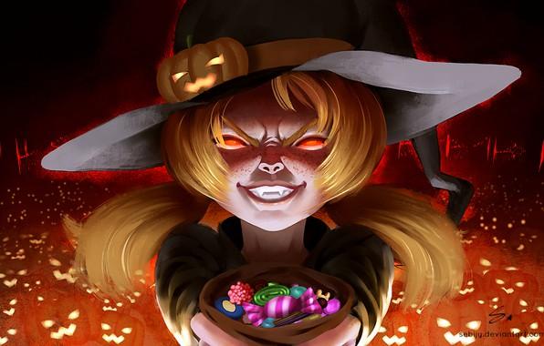 Картинка тыквы, сладости, клыки, girl, мешок, halloween, малышка, светильник Джека, горящие глаза, witch, шляпа ведьмы, злобный …