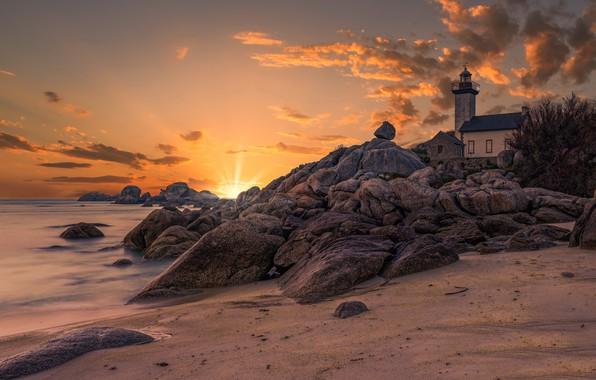 Картинка France, Rocks, Bretagne, Breizh, Pontusval lighthouse