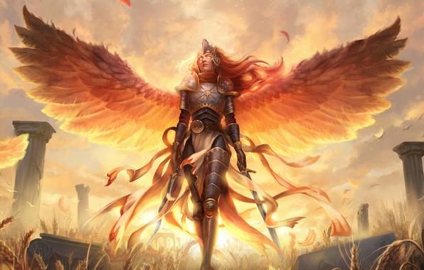 Картинка валькирия, горящие глаза, valkyrie, мечи в руках, Magic the Gathering, доспехи латные, размах крыльев