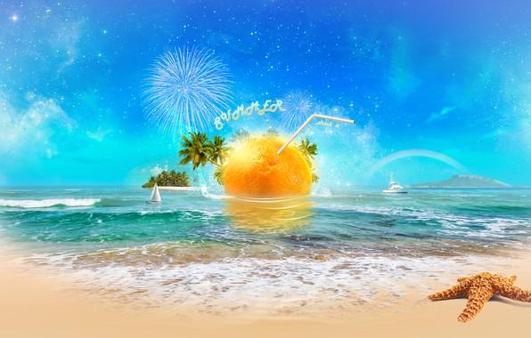 Картинка море, пляж, солнце, апельсин, digital, sea, art, orange