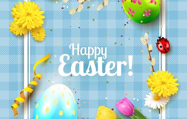 Картинка цветы, яйца, Пасха, тюльпаны, верба, Easter
