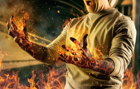 Картинка огонь, фотошоп, руки, мужчина