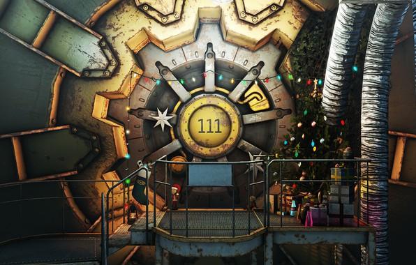 Фото обои Игра, Рождество, Новый год, Украшения, Праздник, Fallout, Арт, Christmas, Art, Ёлка, Игрушки, 111, Подарки, Bethesda, ...