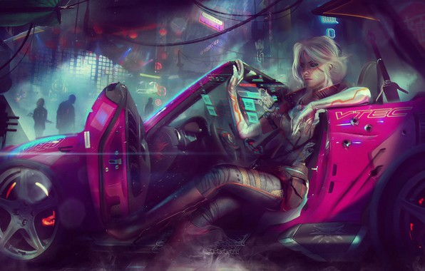 Картинка девушка, город, фантастика, автомобиль, ведьмак, art, cyberpunk 2077, Cirilla Fiona Elen Riannon, Ciri, cirilla
