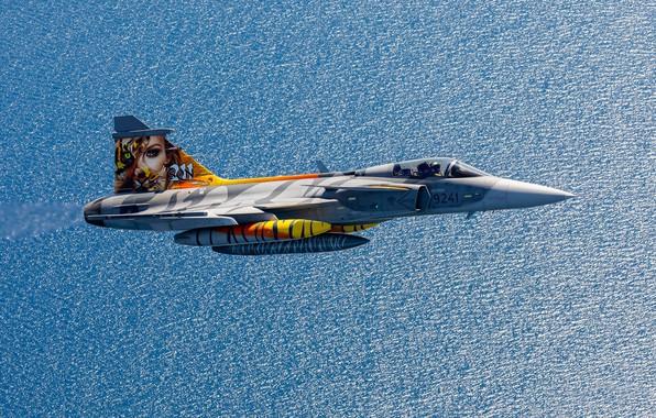 Картинка полёт, многоцелевой истребитель, ВВС Швеции, Saab JAS 39C Gripen