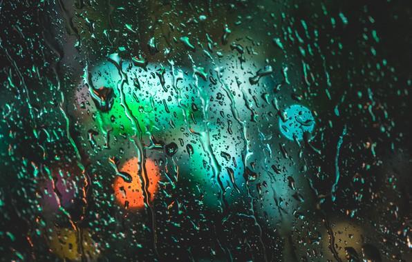 Картинка стекло, огни, капли воды