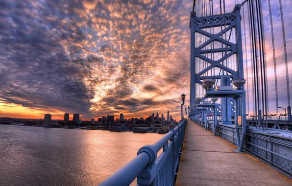 Картинка Pennsylvania, Philadelphia, Old City, Ben Franklin Dusk