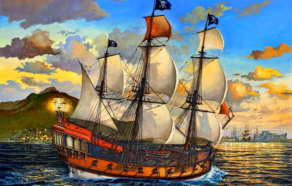 Картинка море, рисунок, корабль, паруса, пираты, веселый роджер, Парусный