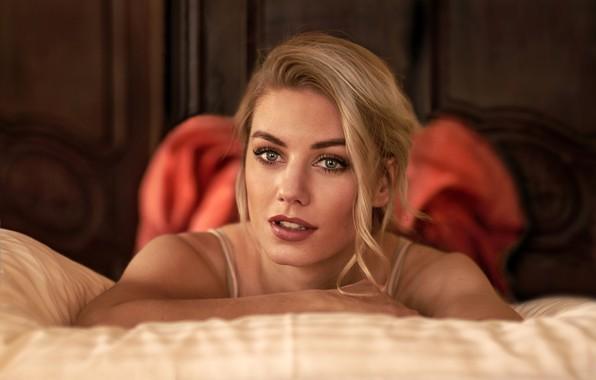 Картинка модель, портрет, блондинка, красотка, боке, Monika, Jörgen Petersen