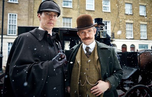 Картинка снег, Шерлок Холмс, Мартин Фриман, Бенедикт Камбербэтч, Sherlock, Sherlock BBC, Sherlock Holmes, Джон Ватсон, Безобразная …