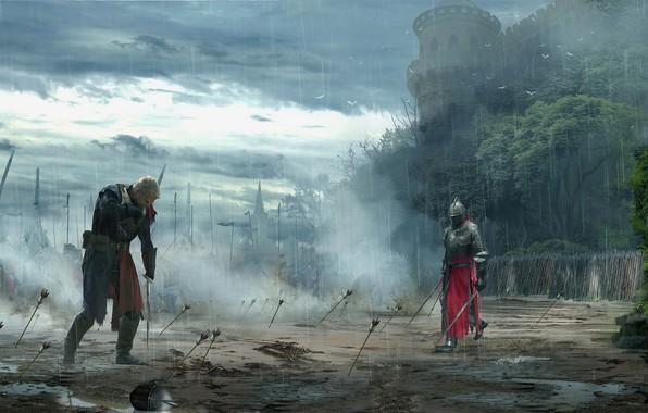 Картинка оружие, замок, воин, дуэль, стрела, Рыцарь, доспех