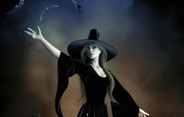 Картинка тьма, ведьма, летучие мыши, witch, шляпа ведьмы, черная магия, проклятие