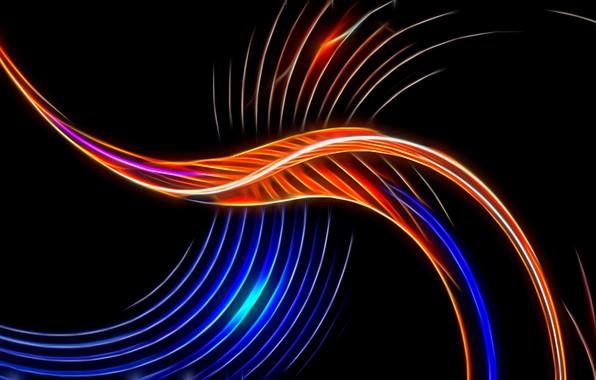 Картинка абстракция, рендеринг, обои, черный фон, картинка, игра света, заставка на рабочий стол, светящиеся волны