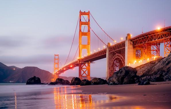 Картинка city, lights, USA, beach, twilight, sea, ocean, bridge, sunset, California, rocks, landscapes, San Francisco, fog, …