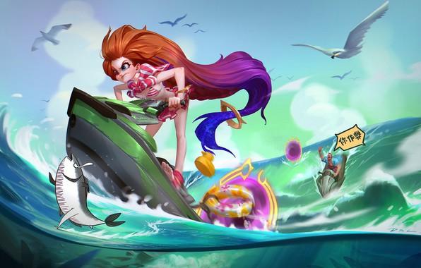 Картинка море, лето, ситуация, аниме, арт, прогулка, Zoe, DSL ART