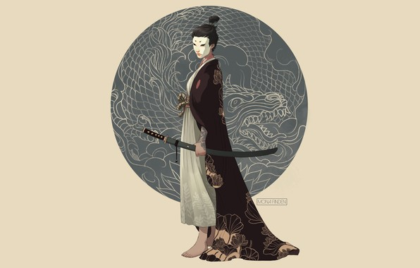 Картинка sword, fantasy, minimalism, weapon, katana, dragon, samurai, digital art, artwork, mask, fantasy art, kimono, illustration, …