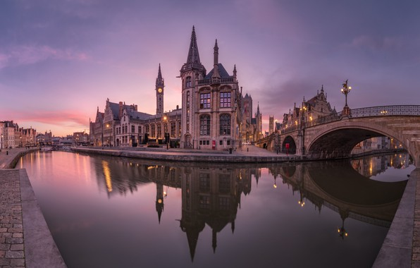 Картинка мост, отражение, река, здания, дома, Бельгия, архитектура, набережная, Belgium, Гент, Ghent, Река Лейе, Leie River, …