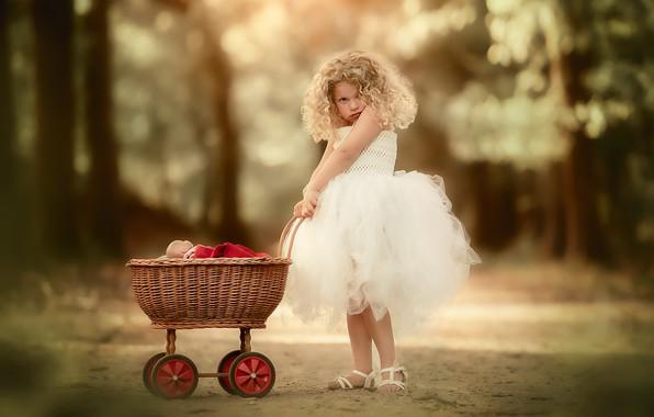 Картинка кукла, девочка, коляска