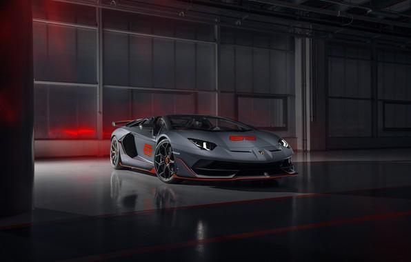 Картинка машина, Lamborghini, суперкар, roadster, Aventador, SVJ 63