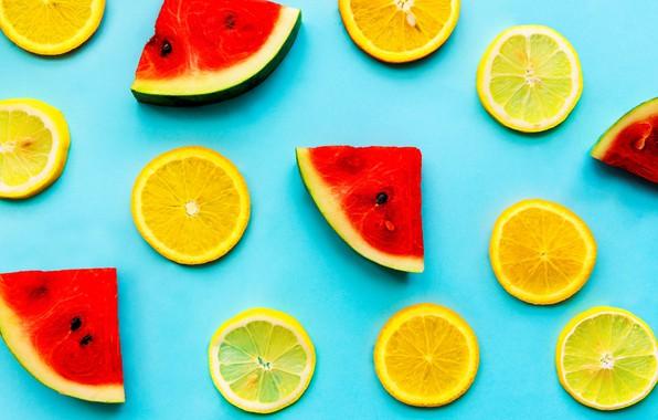 Картинка фон, лимон, апельсин, арбуз