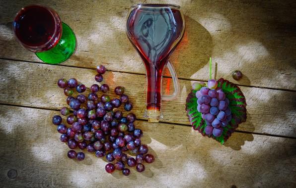 Картинка вино, бутылка, виноград