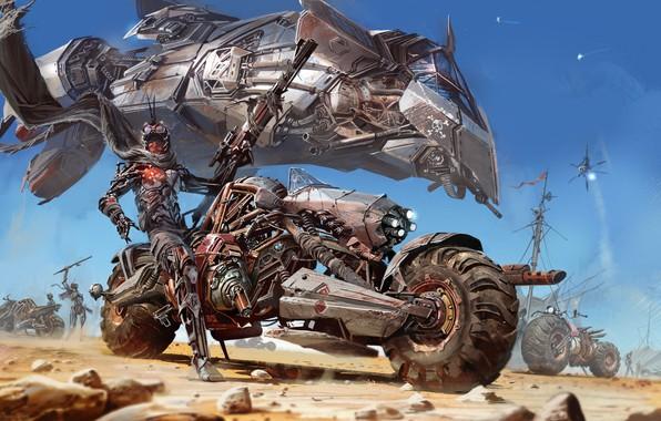 Картинка Пустыня, Мотоцикл, Fantasy, Арт, Art, Фантастика, Jet, Desert, Реактивный самолет, Байкер, Motorcycle, Biker, Ignacio Bazan-Lazcano, …