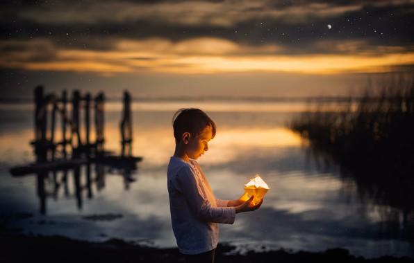 Картинка ночь, мальчик, кораблик