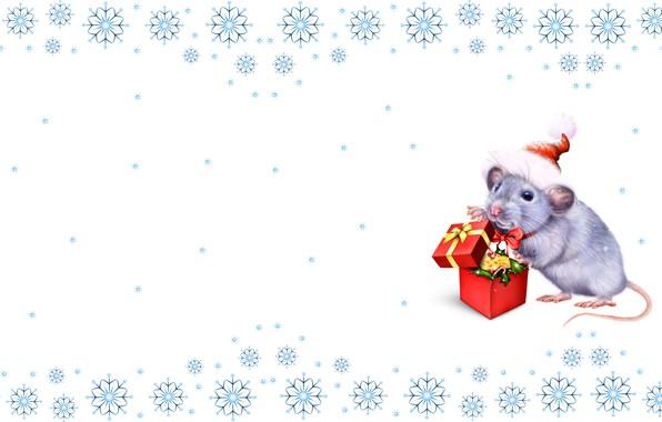 Картинка праздник, подарок, мышка, арт, Новый год, символ, крыса, снежинка, детская, нрастроение