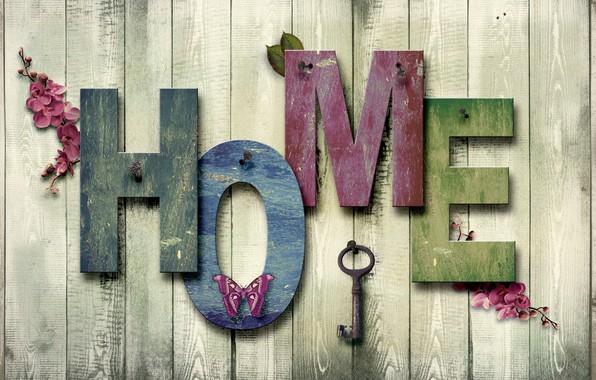 Картинка дом, надпись, бабочка, текстура, Дерево, Ключ, Фон, гвоздь, разное