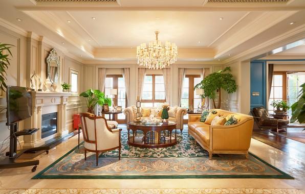 Картинка цветы, дизайн, интерьер, кресло, люстра, камин, столик, диваны, гостиная