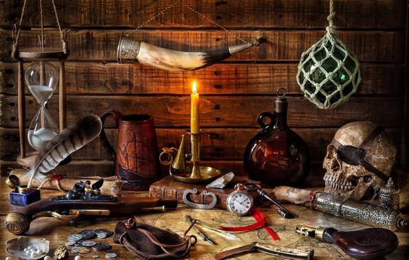 Картинка письмо, стиль, оружие, перо, часы, череп, бутылка, карта, свеча, ключ, кружка, книга, монеты, натюрморт, песочные …