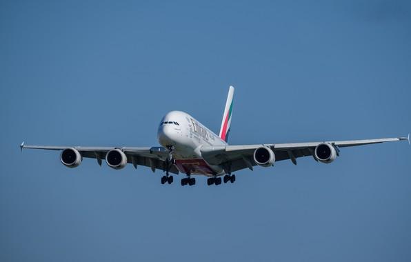 Картинка полёт, лайнер, Airbus, A380-861