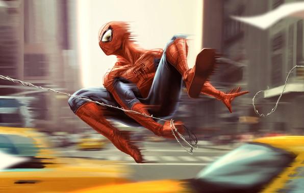 Картинка машины, город, фантастика, рисунок, скорость, дома, паутина, арт, костюм, супергерой, комикс, Человек-паук, MARVEL, Spider-Man, Peter …