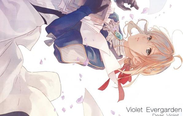 Картинка книга, брошь, железная рука, красная ленточка, Violet Evergarden, by Akiko Takase