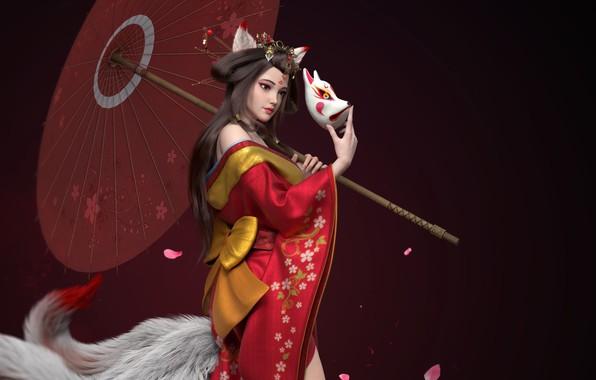 Картинка темный фон, зонт, маска, гейша, хвост, кимоно, бант, ушки, art, лепестки сакуры, Wing, kitsune, китсуне, …