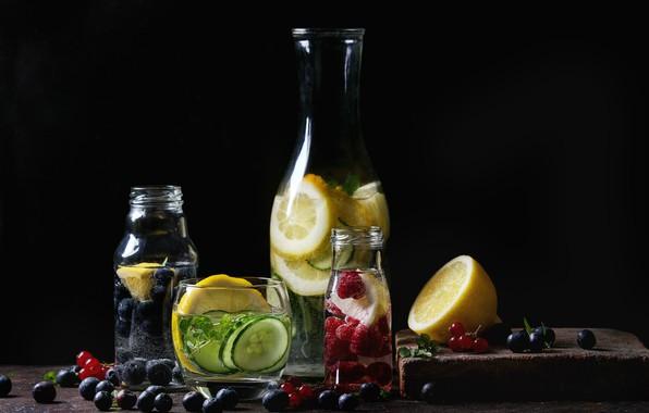 Картинка ягоды, цитрус, напиток, фрукты, лимонад