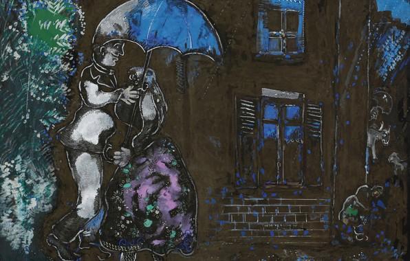 Картинка 1926, MARC CHAGALL, COUPLE SOUS LA PLUIE