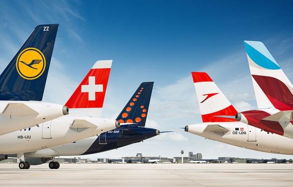 Картинка Самолет, Самолеты, Аэропорт, Авиация, Airlines, Lufthansa, Airbus, Austrian, Brussels, Airbus A320, Swiss, Компании, Фирмы, Airbus …
