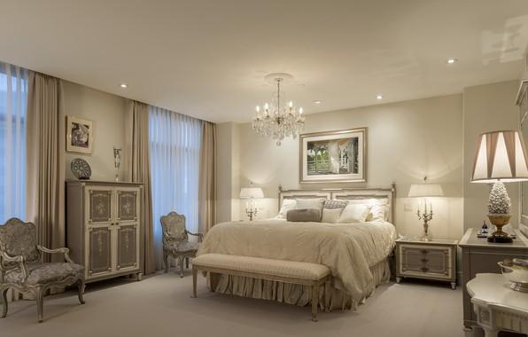 Картинка дизайн, мебель, кровать, интерьер, картина, кресла, люстра, спальня