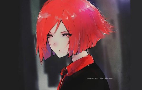 Картинка взгляд, лицо, стрижка, girl, тёмный фон, красные волосы, портрет девушки, Aoi Ogata